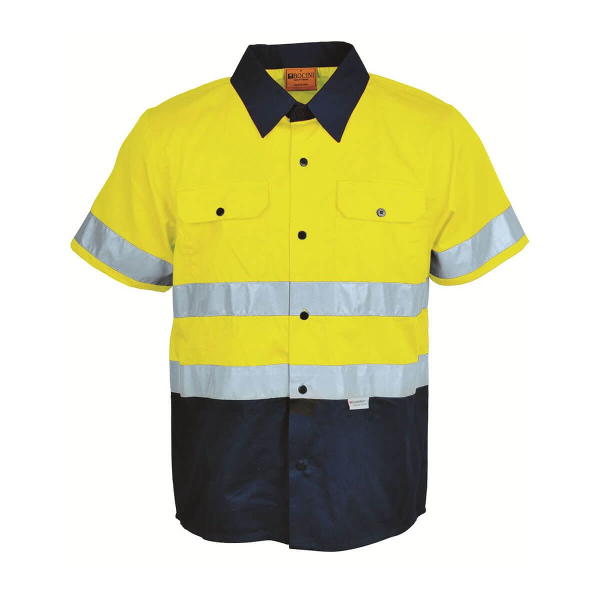 HI-VIS S/S COTTON DRILL SHIRT WITH TAPE-Lime / Navy