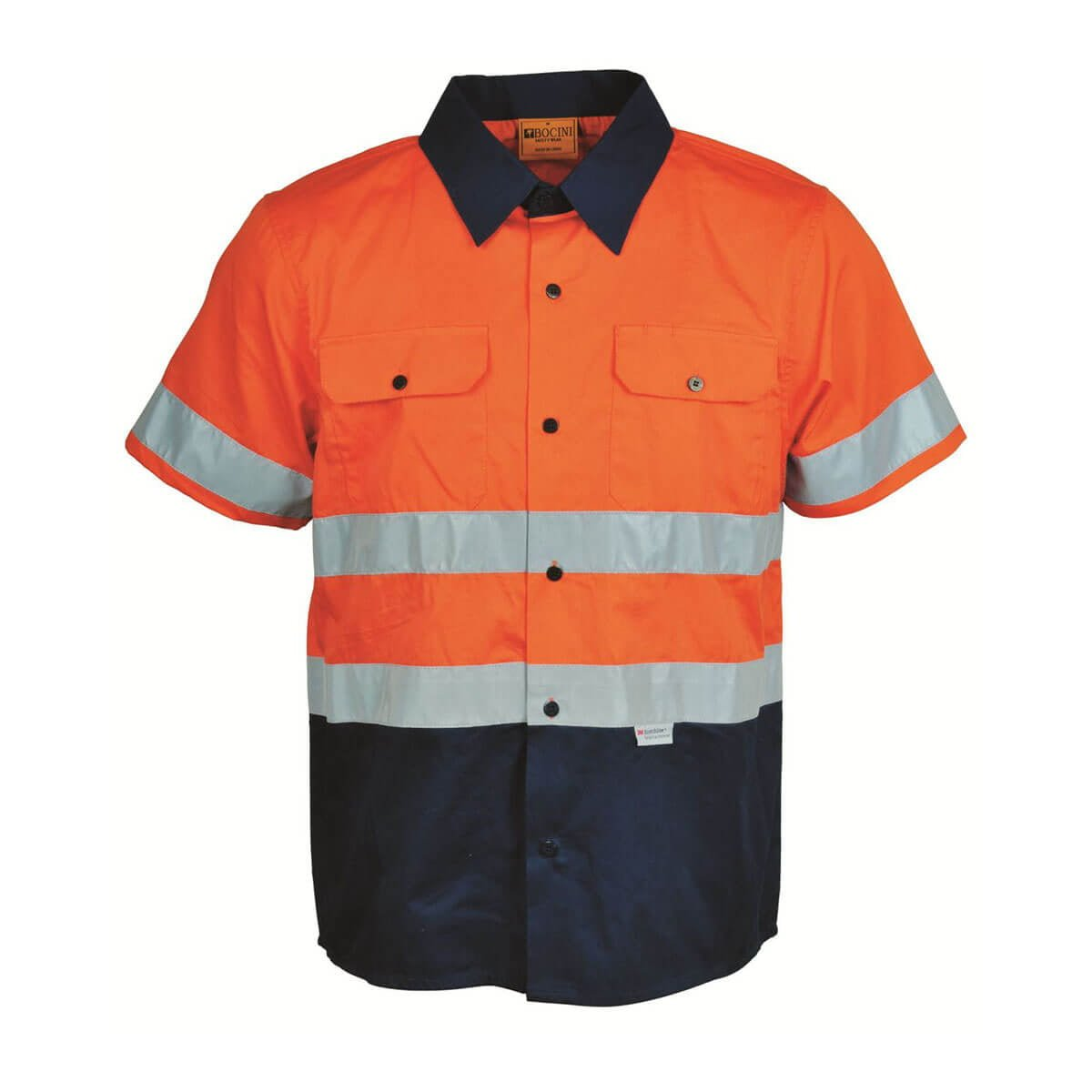 HI-VIS S/S COTTON DRILL SHIRT WITH TAPE-Orange / Navy