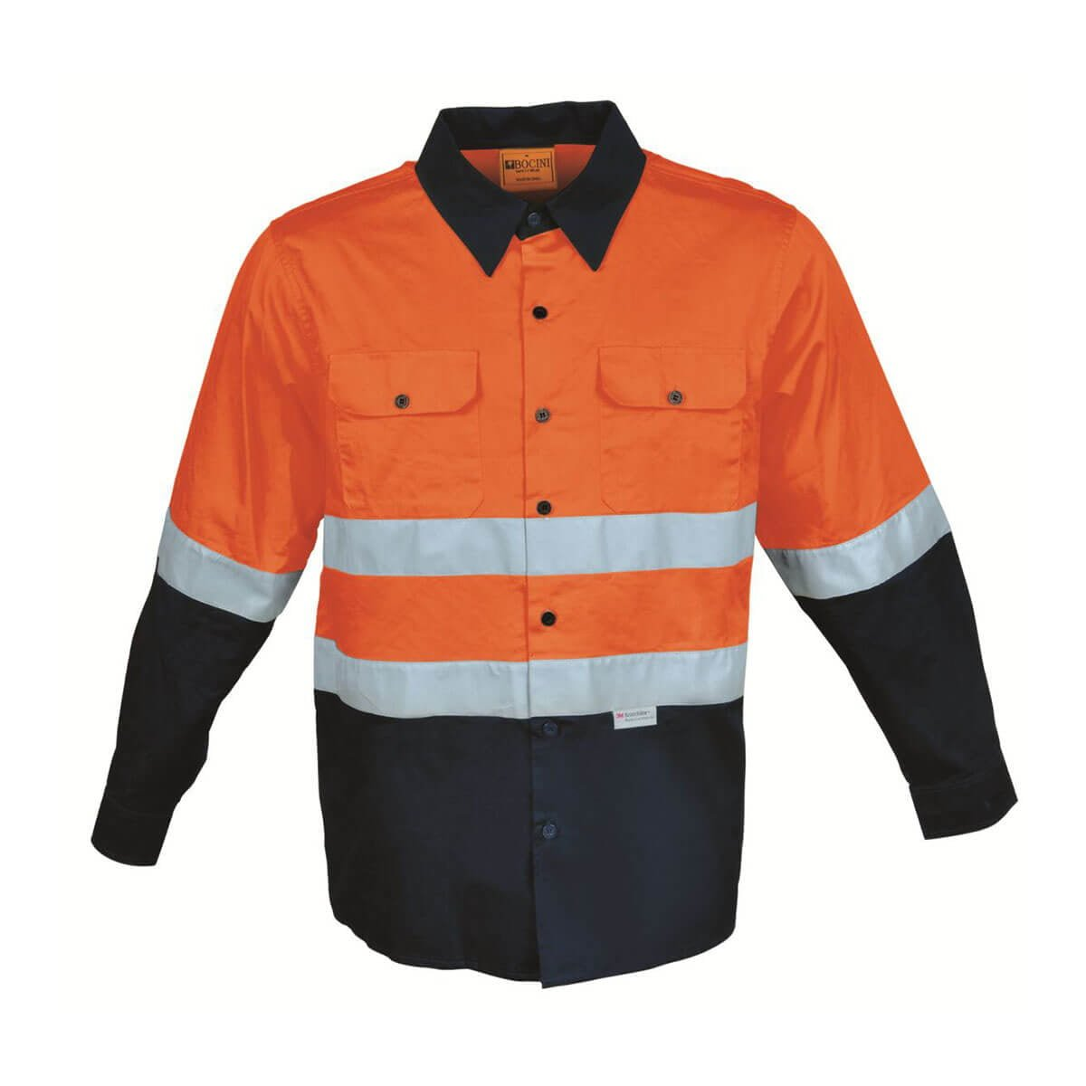 HI-VIS L/S COTTON DRILL SHIRT WITH TAPE-Orange / Navy