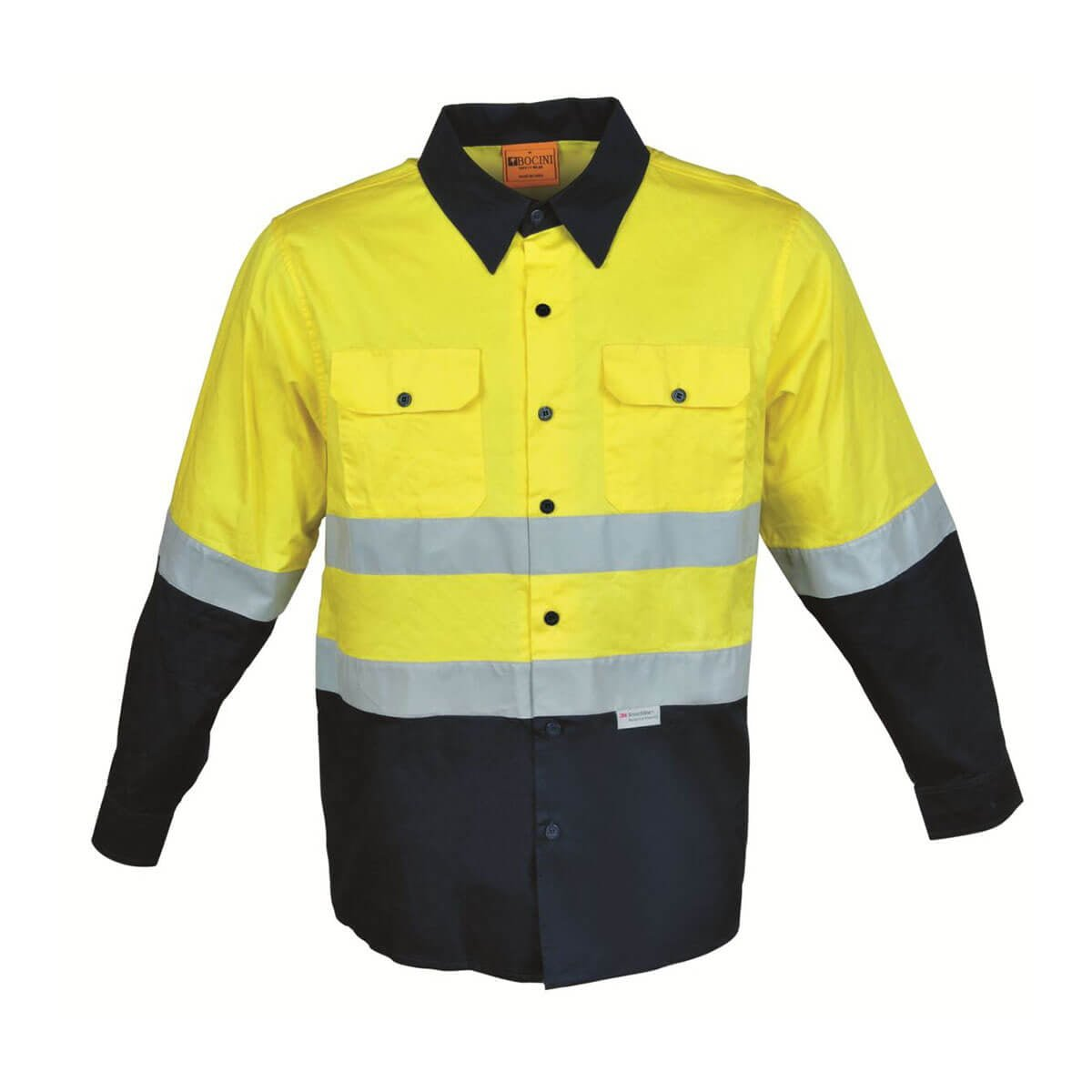HI-VIS L/S COTTON DRILL SHIRT WITH TAPE-Lime / Navy
