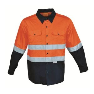 HI-VIS L/S COTTON DRILL SHIRT WITH TAPE