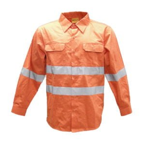 HI-VIS ORANGE DRILL SHIRT WITH X TAPE