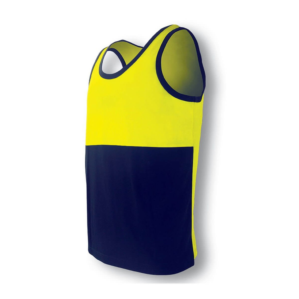 HI-VIS POLYFACE/COTTON BACK SINGLET-Lime / Navy