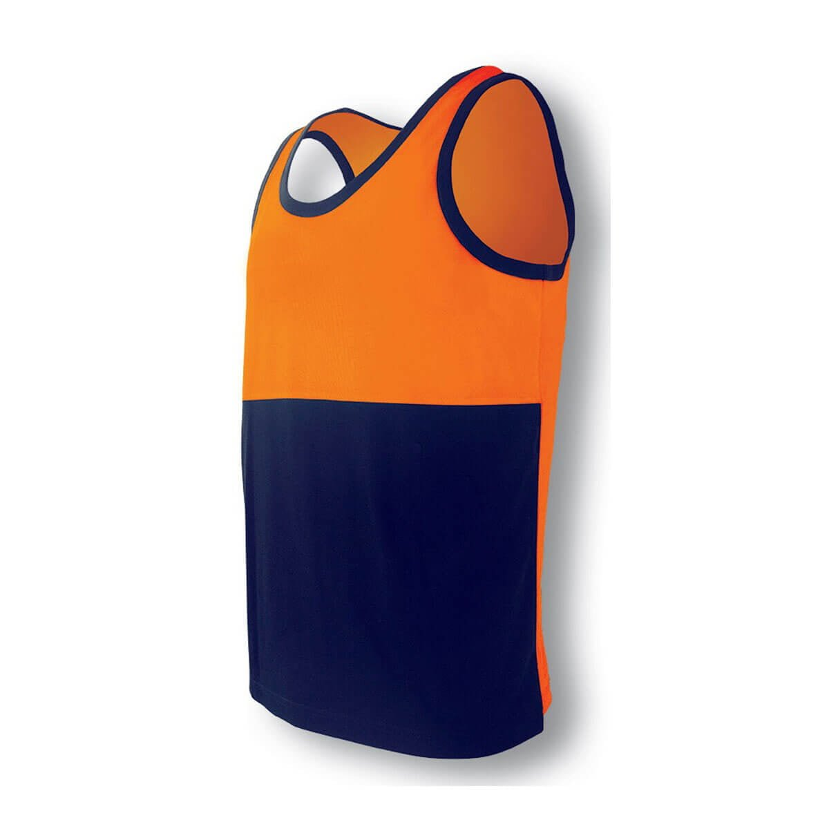 HI-VIS POLYFACE/COTTON BACK SINGLET-Orange / Navy