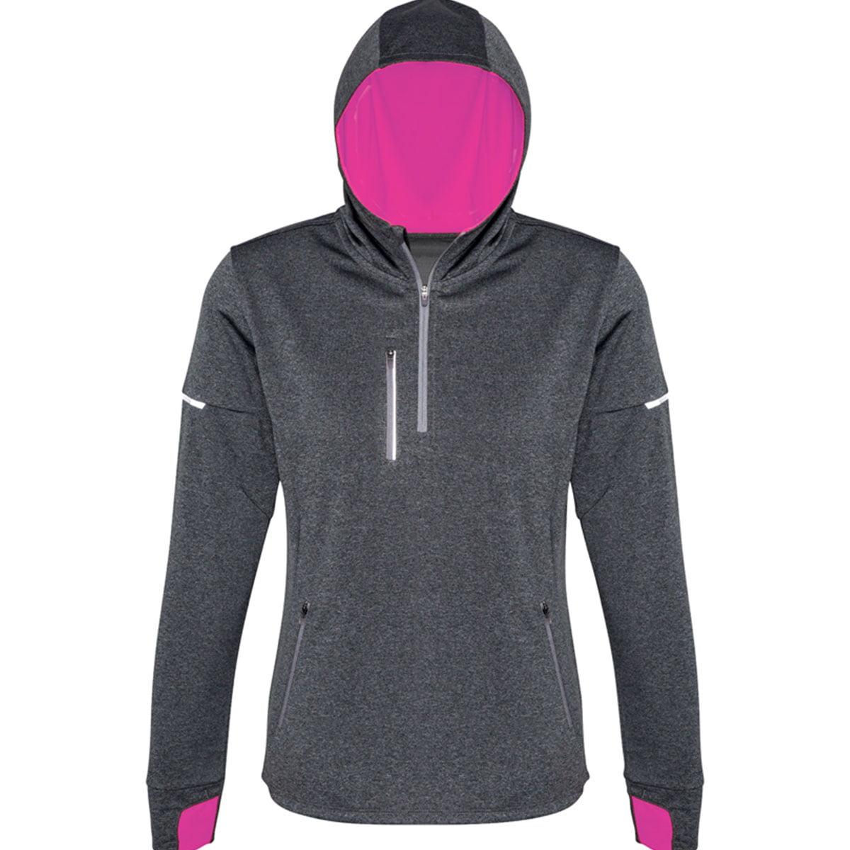 Ladies Pace Hoodie-Grey / Fluoro Pink