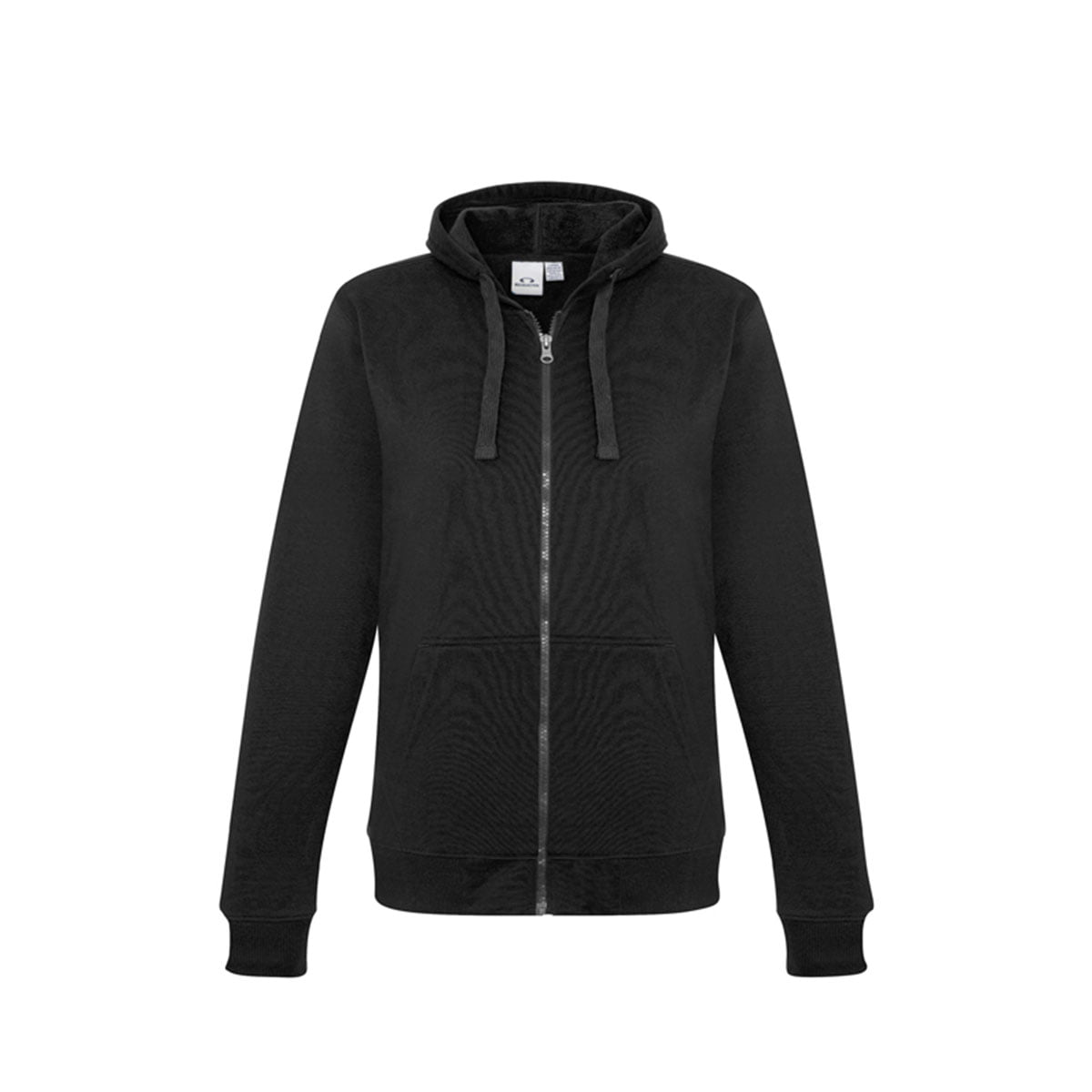 Ladies Crew Zip Hoodie-Black
