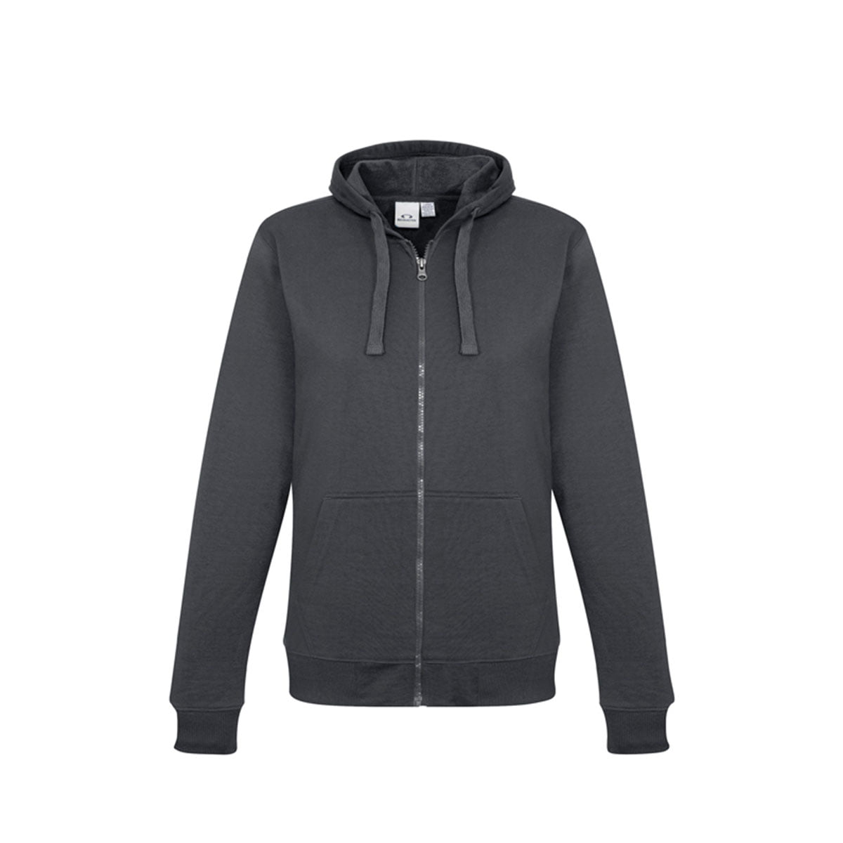 Ladies Crew Zip Hoodie-Charcoal