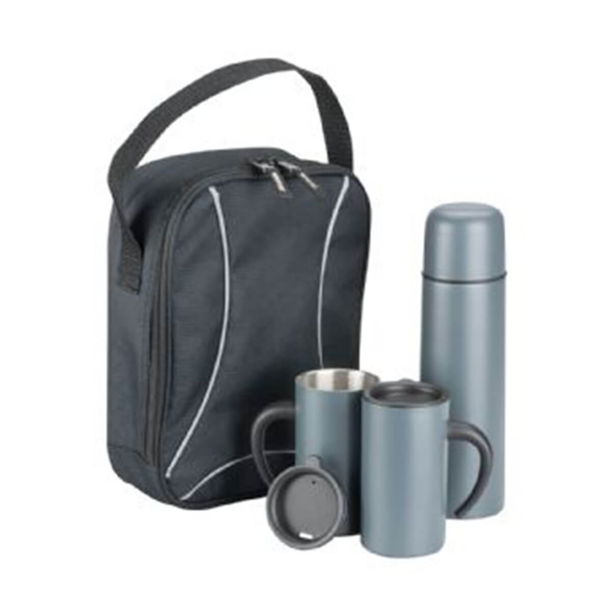 Trekk Thermal Set-Black bag with Silver lining and Silver drinkware