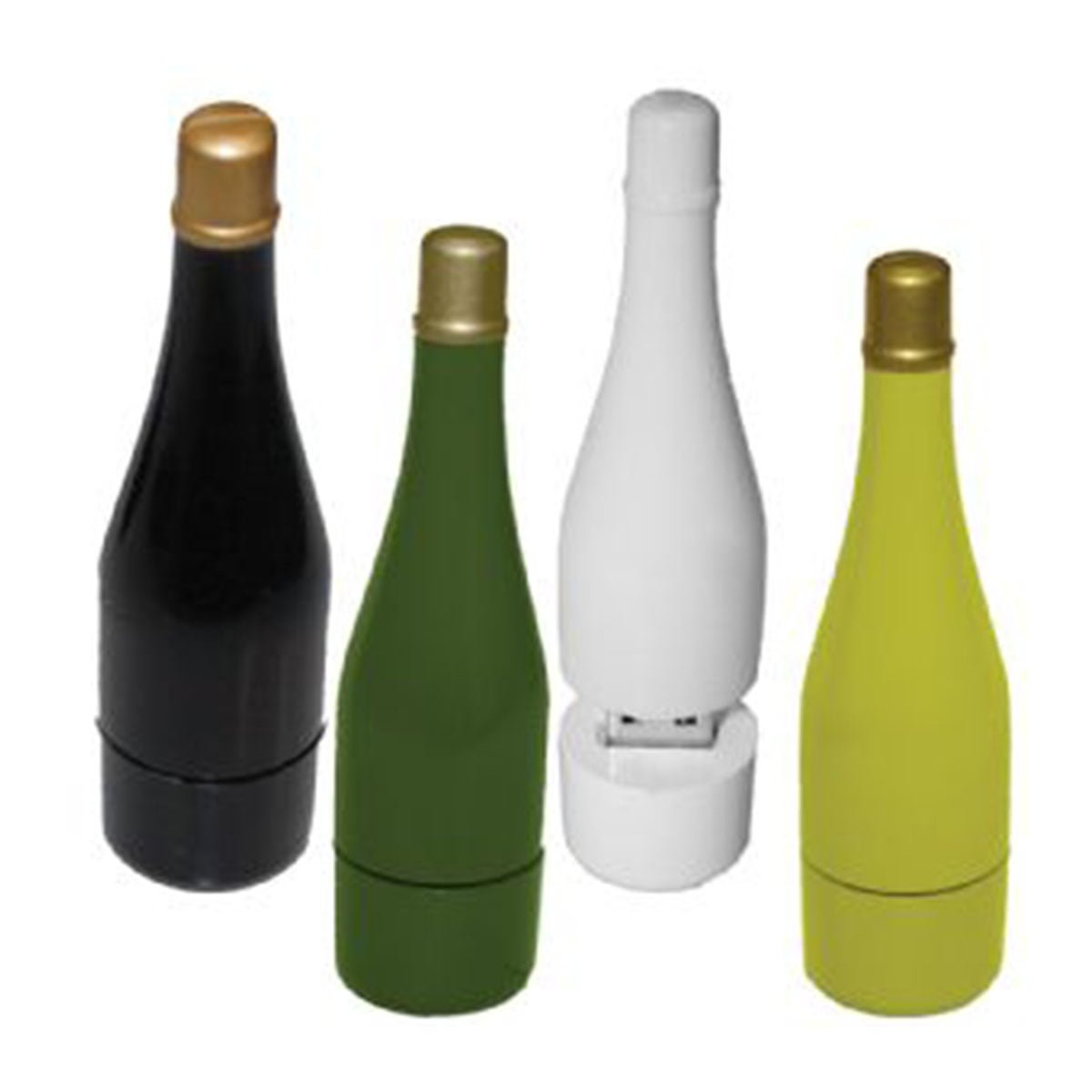 Wine Bottle (ABS) Flash Drive-You can change up to 2 of the base PVC colours and print your logo in 1-2 colours in 1 position.