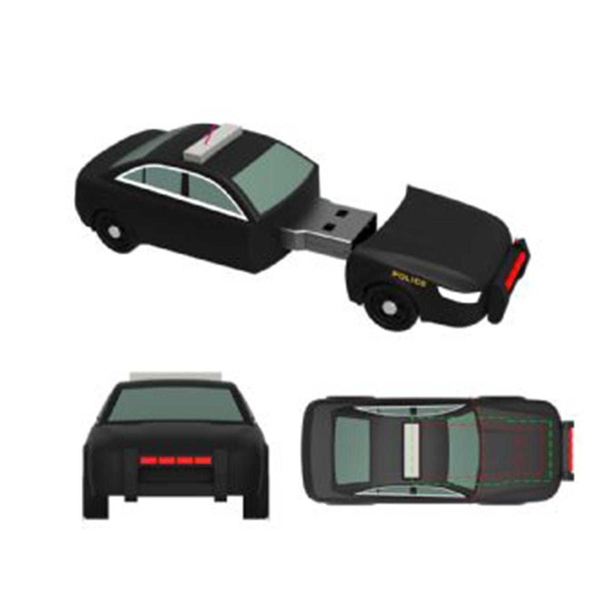 Police Car PVC Flash Drive-You can change up to 2 of the base PVC colours and print your logo in 1-2 colours in 1 position.