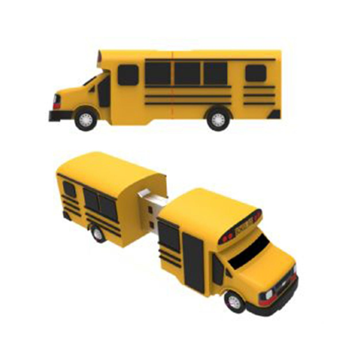 School Bus USB Flash Drive-You can change up to 2 of the base PVC colours and print your logo in 1-2 colours in 1 position.