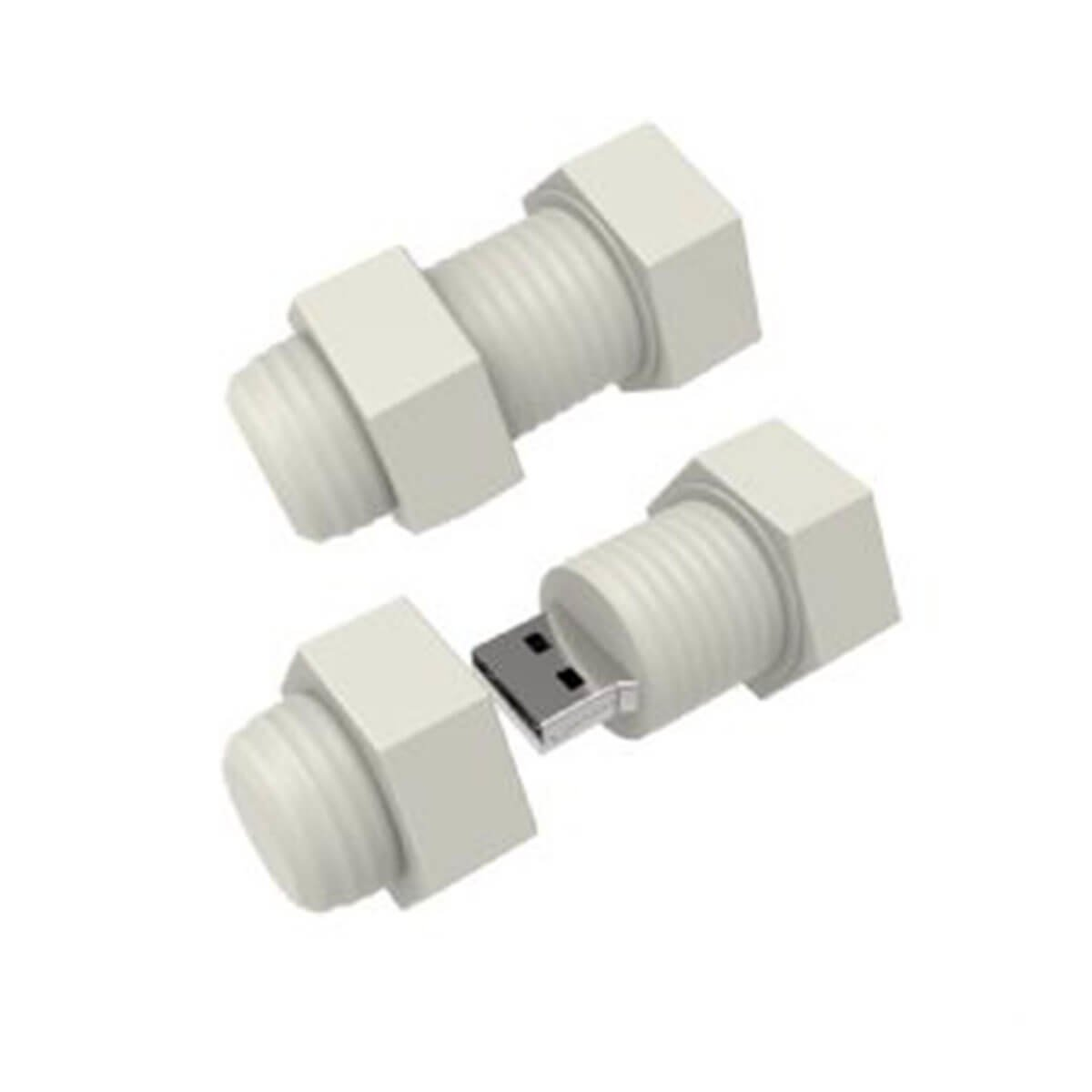 Nut & Bolt USB Flash Drive-You can change up to 2 of the base PVC colours and print your logo in 1-2 colours in 1 position.