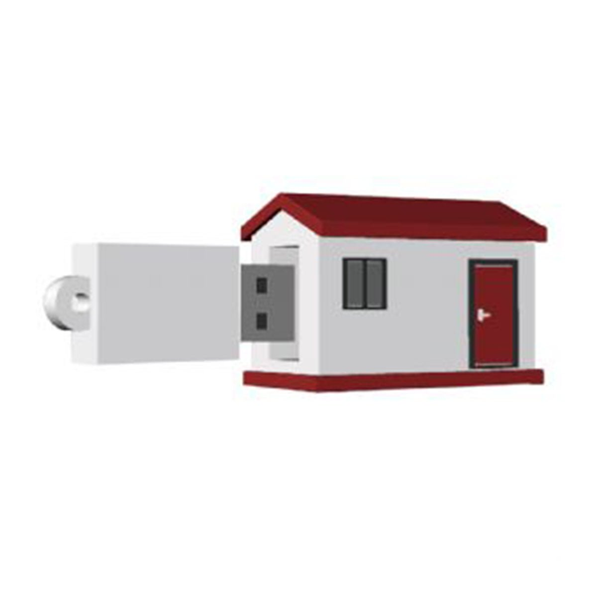 House #2 USB Flash Drive-You can change up to 2 of the base PVC colours and print your logo in 1-2 colours in 1 position.