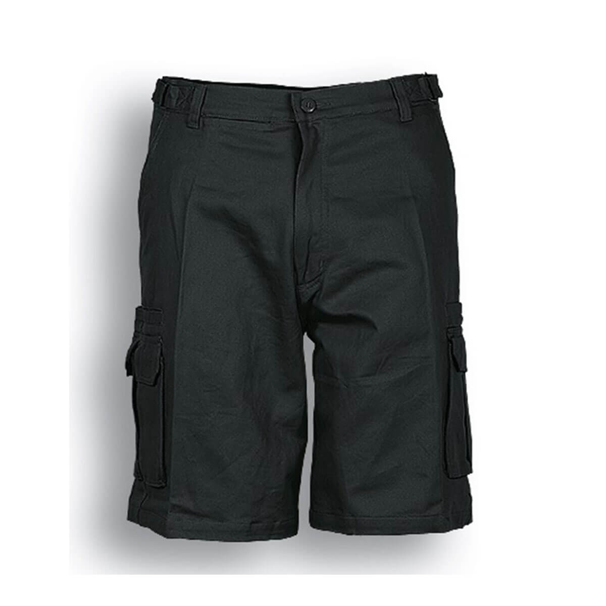 COTTON DRILL UTILITY SHORTS-Black
