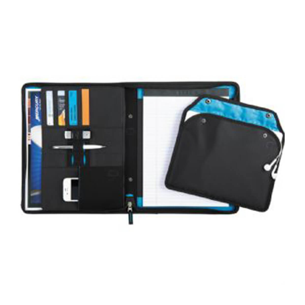 Zoom® 2-In-1 Tech Sleeve Zip Padfolio-Black