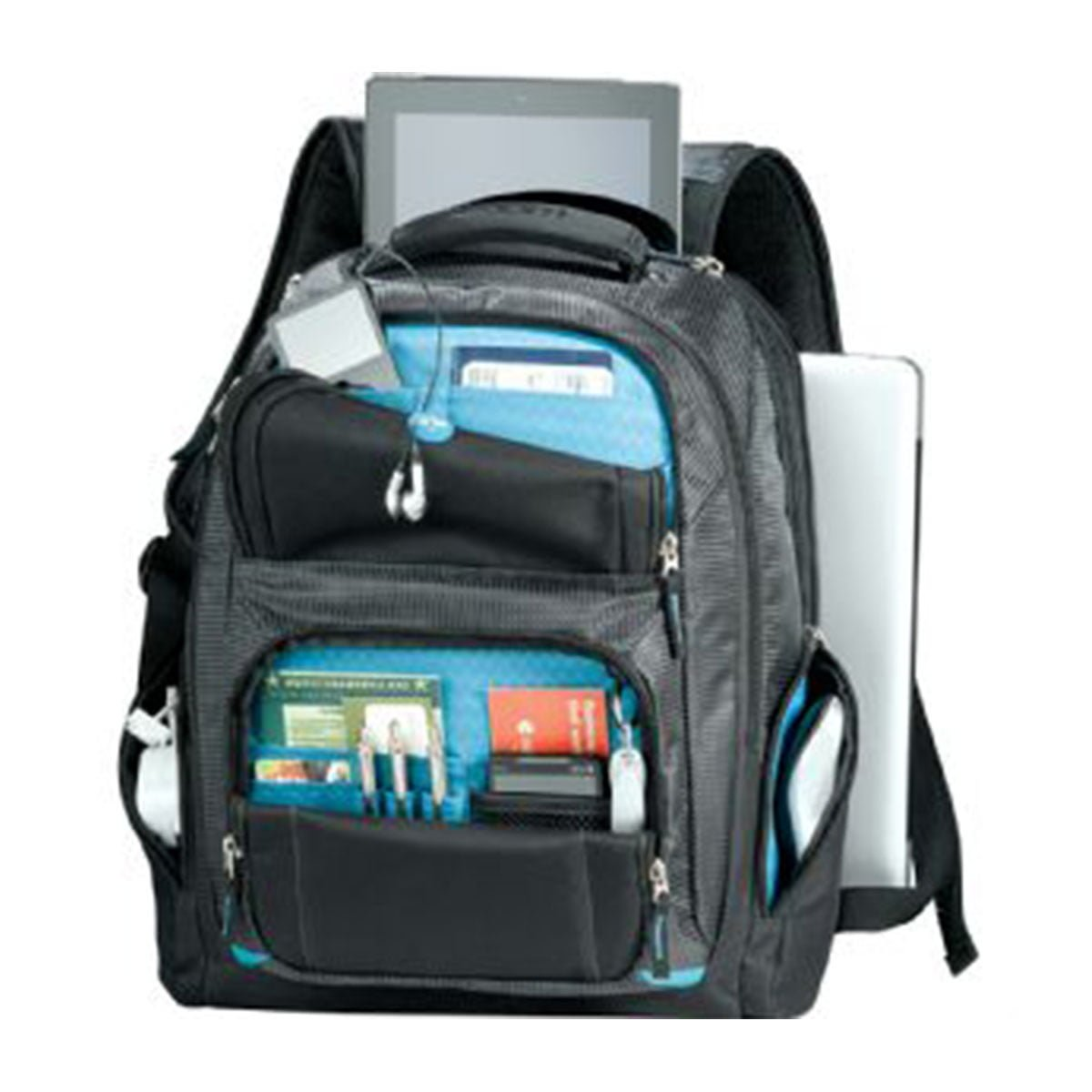 Zoom® Checkpoint-Friendly Compu-Backpack-Black with Blue detail