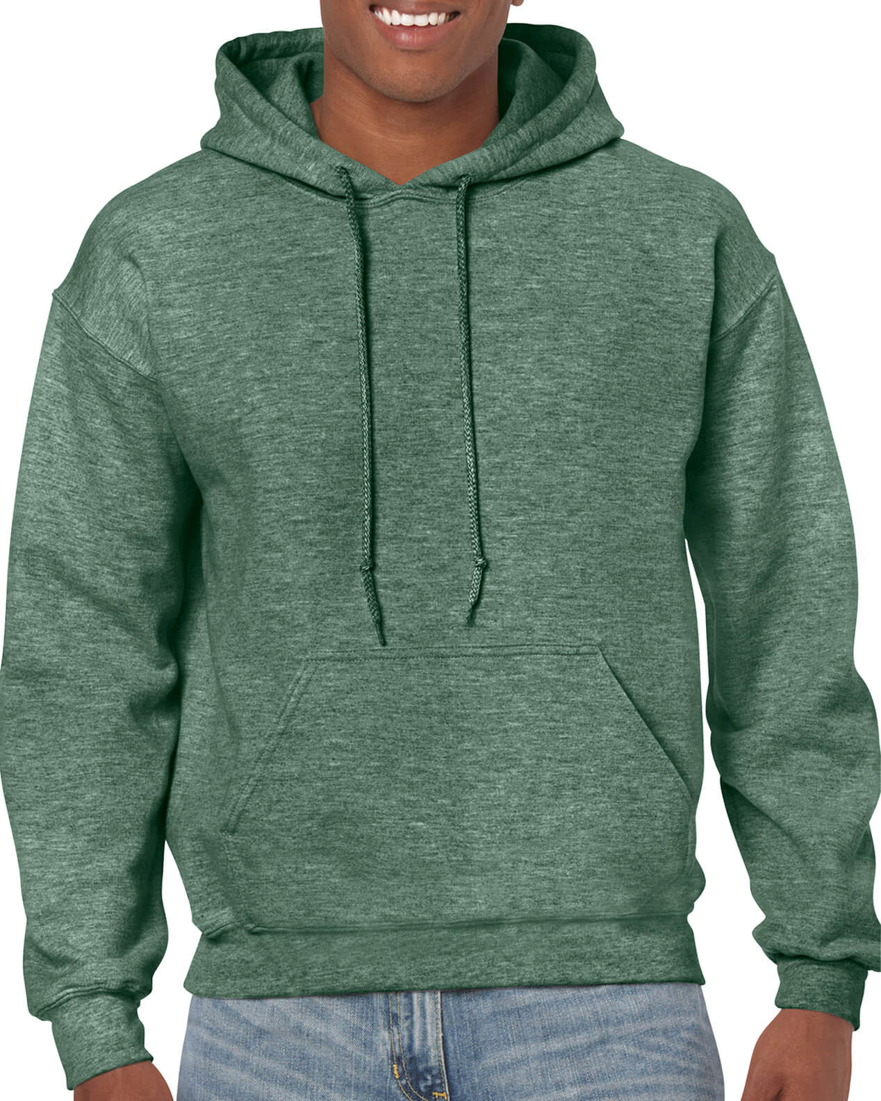 ADULT 50/50 HOODED SWEAT-Green Marl
