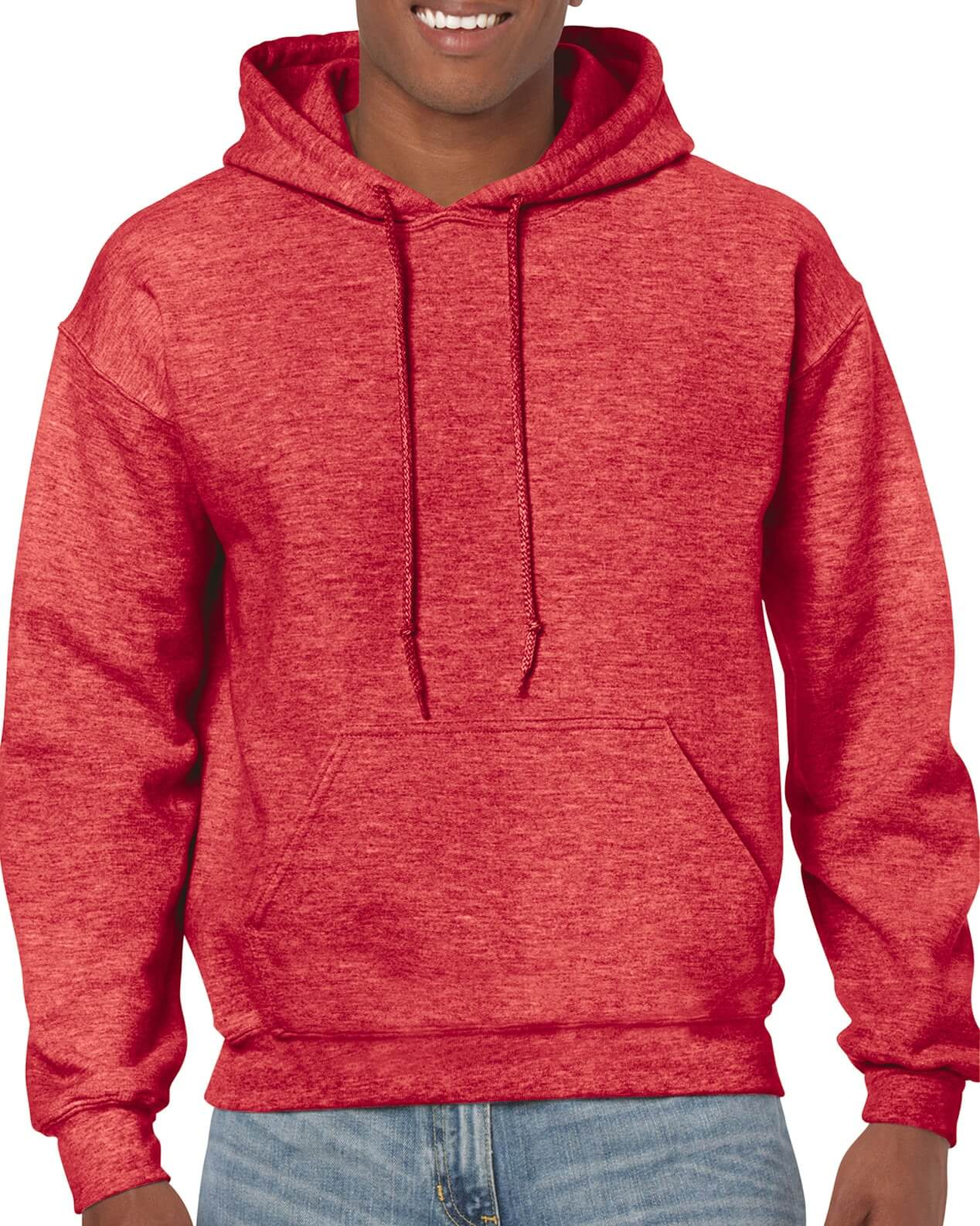 ADULT 50/50 HOODED SWEAT-Red Marl