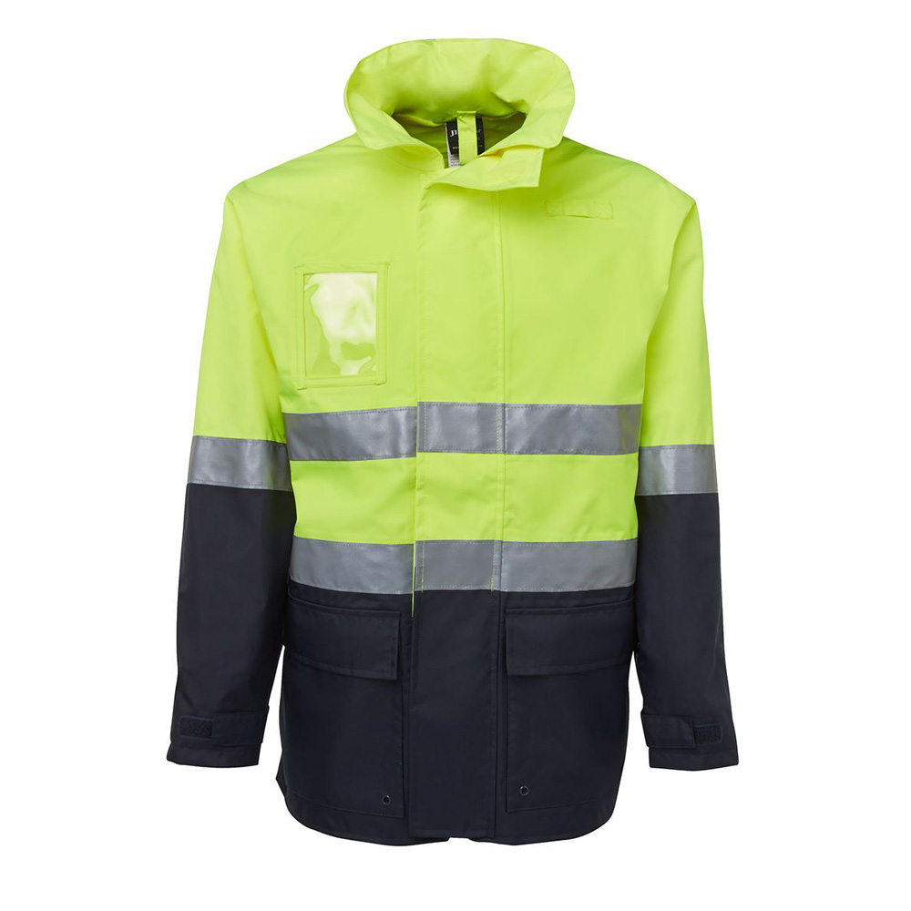HI VIS (D+N) LONG LINE JACKET-LIME/NAVY