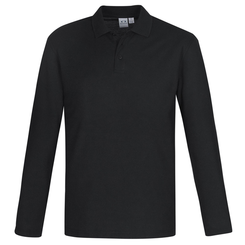 Crew Mens L/S Polo-Black